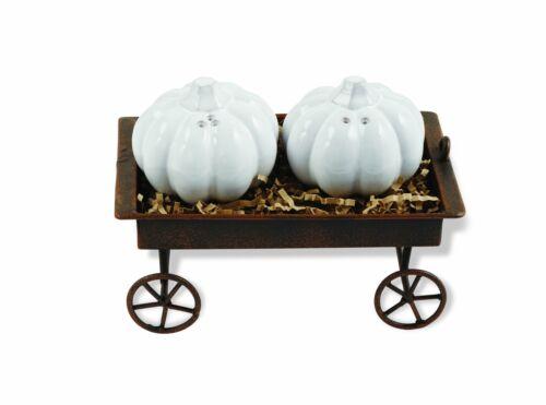 Gray Mud Pie Pumpkin Salt /& Pepper Shaker Set