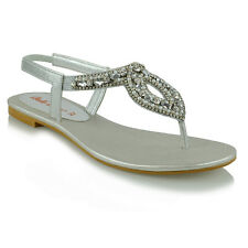 177090f069d6 item 4 Womens Flat Slingback Sandals Diamante Toe Post Ladies Strappy T Bar  Shoes Size -Womens Flat Slingback Sandals Diamante Toe Post Ladies Strappy  T Bar ...