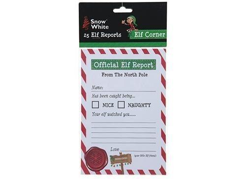 25 x Fogli di rapporto Elf-Elfo comportarsi Male Scaffale Prop Per Natale Divertimento