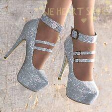 Zapatos Stiletto Para Mujer Señoras Diamante Noche Tacones Altos Y Correa En El Tobillo Uk Size 3-8