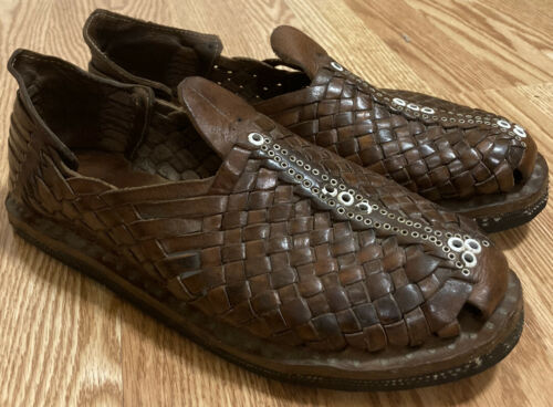 Vintage OLD Traditional Hand Woven Brown Leather M