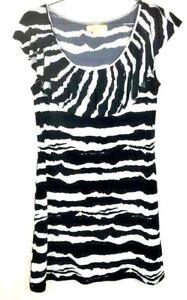 michael kors dress womens large navy & white animal print zebra dress