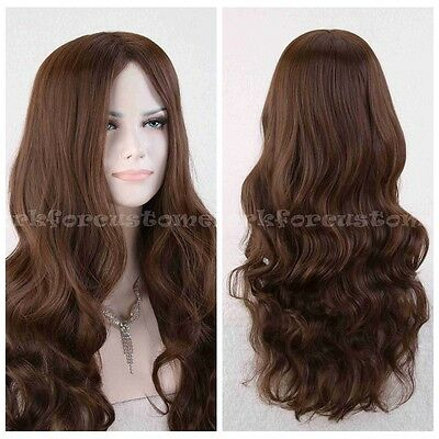 New Women's Long Fashion Curly Wavy Dark Brown Natural Hair Party COS  wig cap