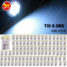 100 PCS Cool White T10 Side Wedge 8 LED SMD Light W5W 194 License Interior Lamps