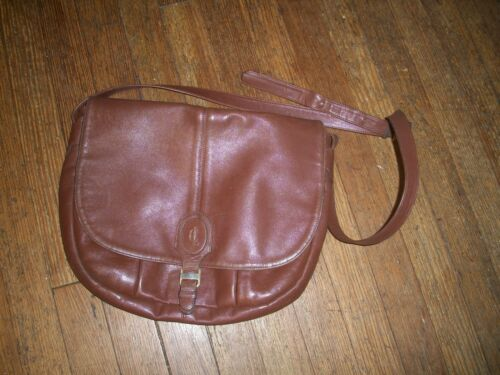 Vintage Claude Gerard Brown Leather Shoulder Bag f