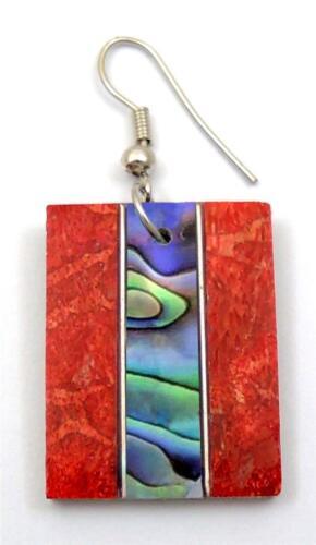 Natural Abalone Coquille et corail rouge Dangle Boucles d/'oreilles pendantes fait main Bijoux EA237