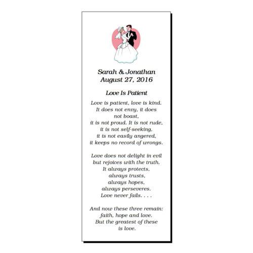 56 Personalized Wedding Bookmarks Party Favor Love Is Patient Corinthians
