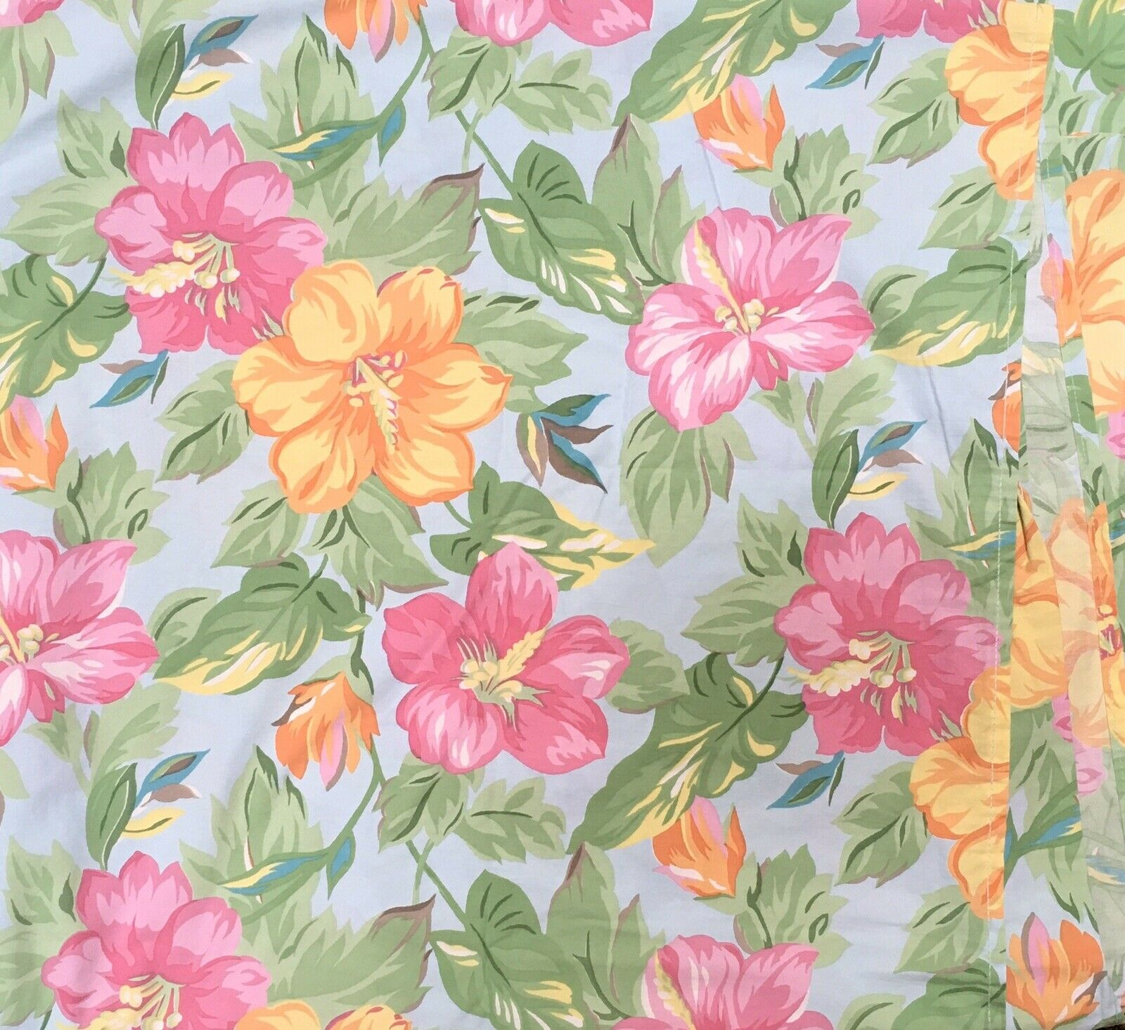 Lauren Ralph Lauren King Flat Sheet Sandy Lane Blau Tropical Hawaiian Floral