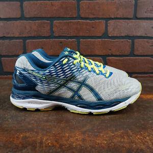 ASICS-Gel-Nimbus-18-Mens-Size-9-5-Running-Shoes-Gray-Blue-Yellow-T600N