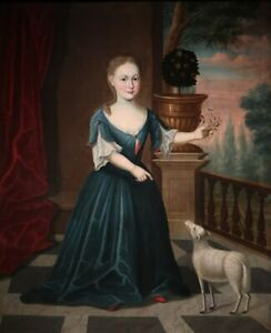 """high quality oil painting handpainted on canvas """" Girl with a Lamb"""""""