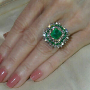 5-Ct-Green-Emerald-amp-Diamond-Engagement-Cluster-Ring-Solid-10K-White-Gold-Finish