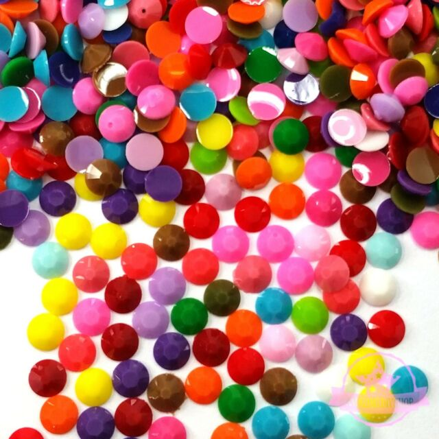 500 3mm DIY Nail Art Candy Solid Mix Color Flatback Rhinestone Cabochon