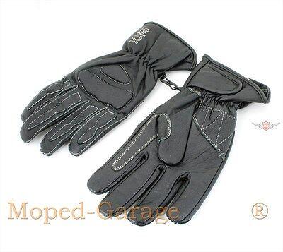 Mofa Moped Retro Leder Handschuhe Schwarz Hand Schuhe Schutz Handschuhe Gr. M