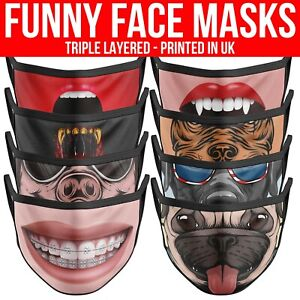 Funny Face Mask Protection Face Cover Covering Reusable Washable Adults Uk Masks Ebay
