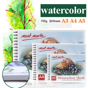 Mont-Marte-30-x-SHEET-SPIRAL-PAD-190GM-QUALITY-WATER-COLOUR-PAPER-ARTIST-QUALITY