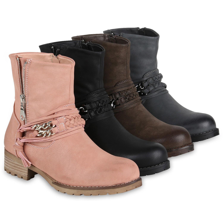 Leicht Gefütterte Damen Biker Boots Stiefeletten Zipper Stiefel 818920 Schuhe