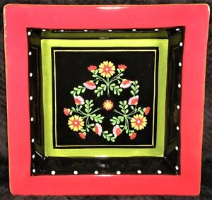 Living-Art-Gypsy-10-034-Square-Dinner-Plate-Black-Floral-White-Dots-Red-Rim