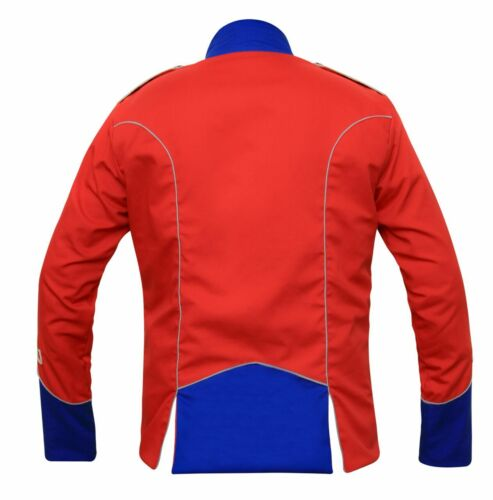 Men Handmade Red Military Napoleon Marching Band Scarlet Tunic jacket
