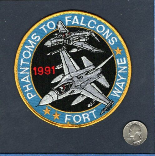 122nd TFW F-4 PHANTOM to F-16 FALCON USAF Indiana ANG Fighter Squadron Patch