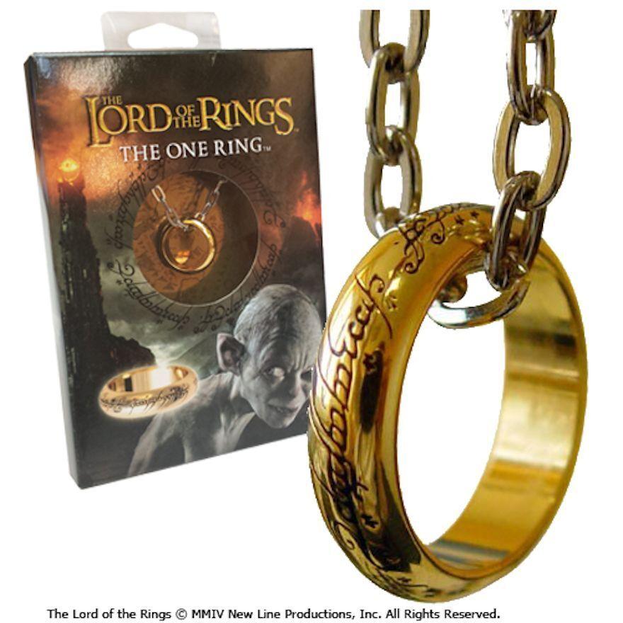 El Señor Anillos único de Gold con collar Texto original en Lord the Lotr Rings