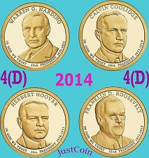 2014-D PRESIDENTIAL DOLLARS SET HARDING COOLIDGE HOOVER ROOSEVELT UNCIRCULATED