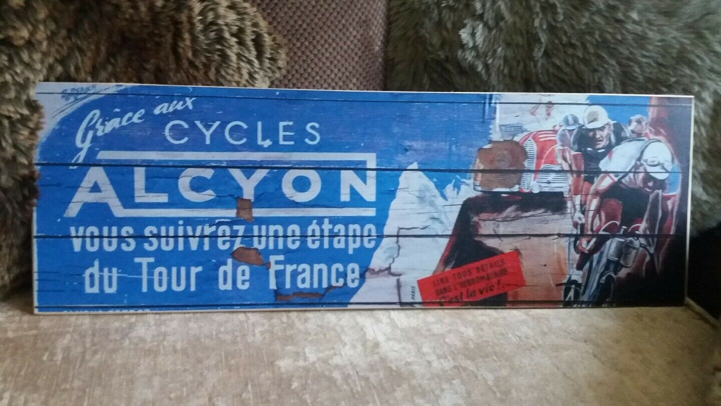 Cycles Alcyon - Tour de France - Vintage Sign - Handmade, Rustic, Brand New