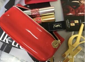 New-YSL-Red-Patent-Leather-Small-Cosmetic-Lip-Coin-Bag-Vip-Gift-Free-Shipping