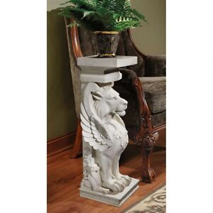 Trapezophoron-Sculptural-Winged-Lion-Indoor-Or-Outdoor-Design-Toscano-Pedestal