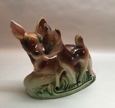 Vtg Ceramic Deer Fawn Coin Bank Figurine Bambi Sioux Trading Post Ogallala Nebr