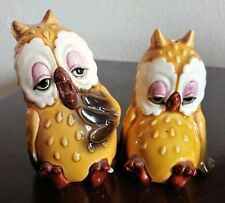 Vintage Norcrest Japan Ceramic 1950's Sleepy Owls Salt & Pepper Shakers TM84