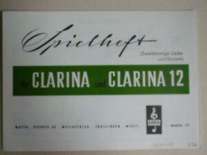 Spielheft Clarina Clarina 12 Hohner AG No 17 Kinderlieder 2-stimmige Lieder