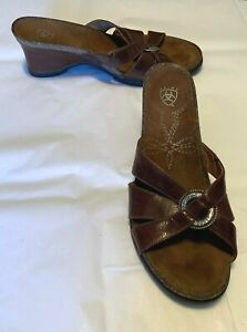 ARIAT-Women-039-s-Shoes-Brown-Leather-Open-Toe-Slide-3-034-Heel-Size-EUR-40-or-US-9B