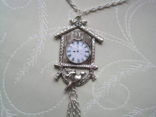 CUCKOO CLOCK Statement Wood Bead Long Chain SP Necklace 24 INCH chain GIFT BAG