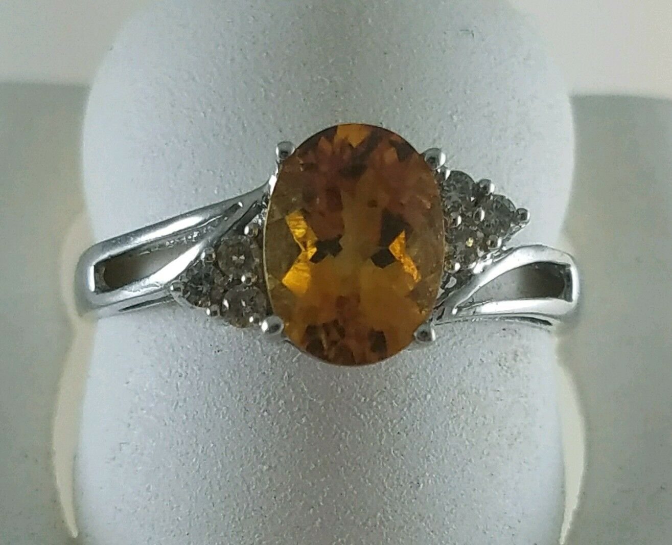 14KT WHITE gold OVAL CITRINE FACITED RING WITH BRILLIANT DIAMONDS SIZE 6.75