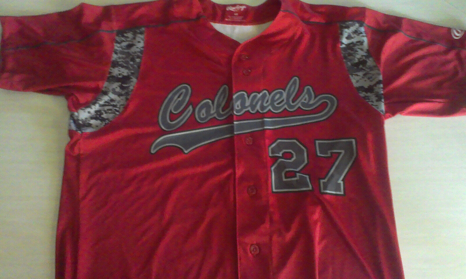 COLONELS RED PATRIOTS BASEBALL JERSEY MENS SIZE 44 LARGE  RAWLINGS