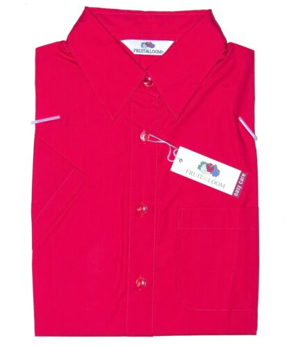 Fruit of the Loom Bluse kurz XS rot Easy Care Lady-Fit Poplin Shirt Damen Hemd
