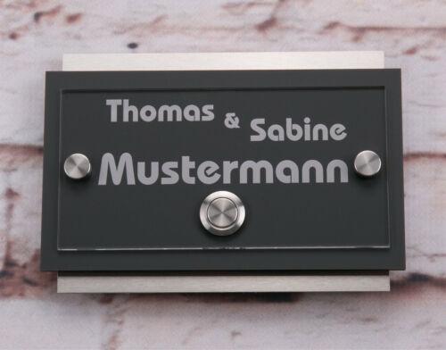 Klingelschild mit Gravur Edelstahl Anthrazit Hausnummernschild in RAL 7016 Matt