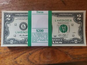 ONE $2 Two Dollar FRN Bill in Currency Sleeve; Nice Gift