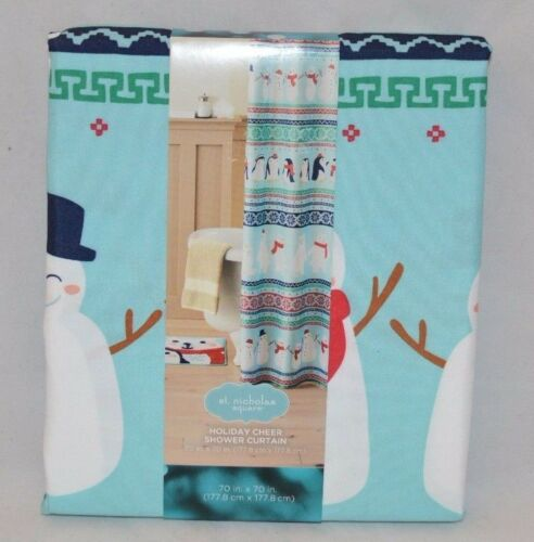 70in x 70in Nicholas Square Holiday Cheer Friends Fabric Shower Curtain St