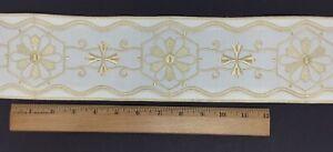 Orphrey-Vintage-Crudo-Color-Encendido-Blanco-Vestment-Banda-10-2cm-Ancha-Sold-De