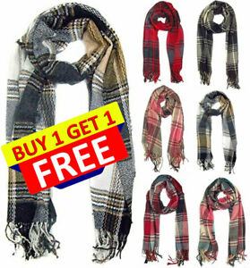 Checks Scarf  Design Plaid Warm  Tartan Winter Shawl Unisex Ladies Men Neck Wrap