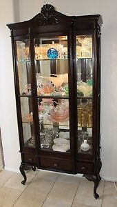 Antique Rare Queen Anne Display Curio China Cabinet