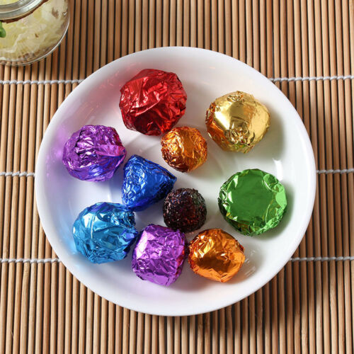 100Pcs Aluminum Foil Wrapping Pure Color Chocolate Candy Package Paper Wrappers