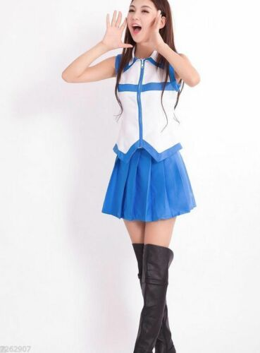 Fairy Tail Lucy School Girl Women Outfit Amine Costume Cosplay Party Halloween