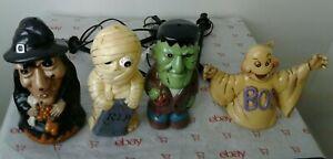 4-Vintage-Halloween-Witch-Mummy-Frankenstein-ghost-Blow-Molds-2001-Dynagood