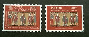 [SJ] Vatican - Iceland Joint Issue Christianity 2000 (stamp pair) MNH