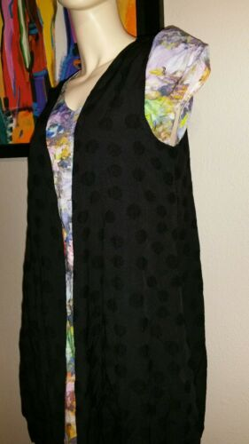 Nilgun Derman devant ouvert poches noir de Niche Vest S Nwt avec Nwl 168 drapé atEgqwx