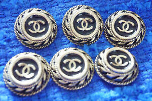 100-Authentic-Chanel-Buttons-logo-cc-lot-of-9-gold-23-mm