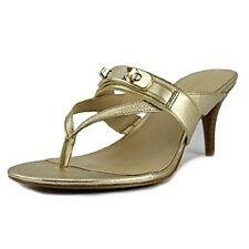 Coach Olina Dress Thong Sandals Kitten Heels Sz 8 Gold Leather w/Turnlock NEW