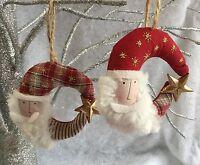 Fabric Santa Moon Head Hanging Christmas Tree Decoration Vintage Gisela Graham